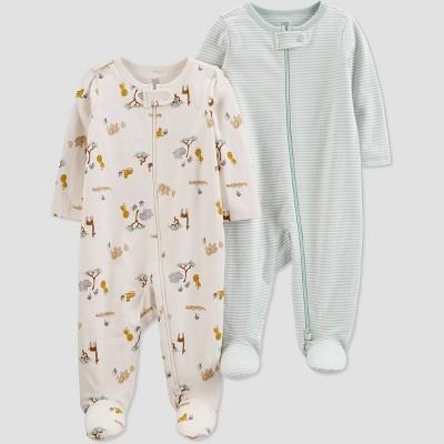 Baby Girls' 2pk Safari Sleep N' Play - Just One You® made by carter's Off-White/Beige Newborn