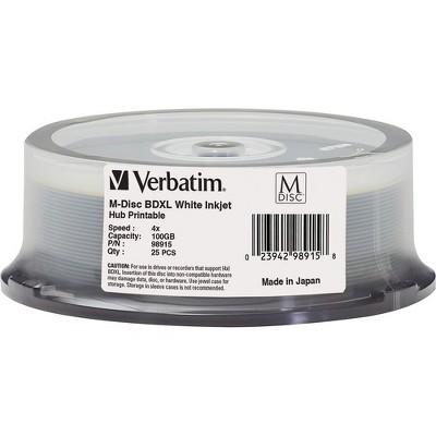 Verbatim M DISC BDXL 100GB 4X White Inkjet Hub Printable - 25pk Spindle