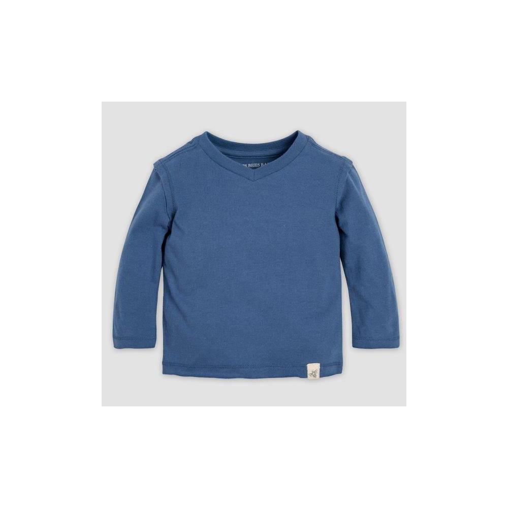 Image of Burt's Bees Baby Baby Boys' Basic High V-Neck Organic Cotton T-Shirt - Blue 18M, Boy's