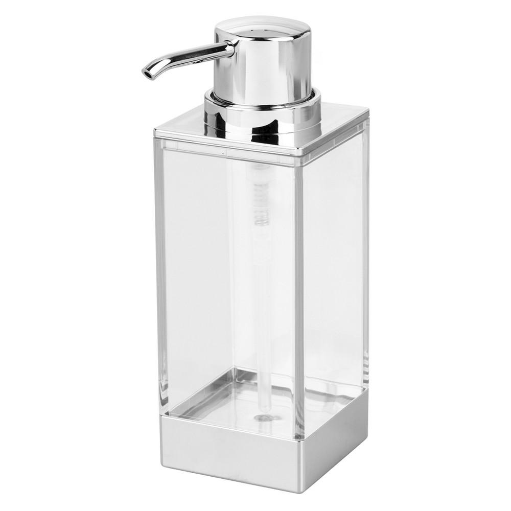 Square Soap Pump Dispenser Clear/Chrome (Grey) - iDESIGN
