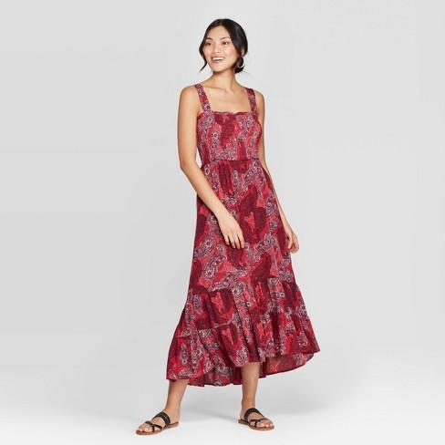 82a1c4bdeb2 Women s Smocked Printed Square Neck Maxi Dress - Knox Rose™ Red   Target