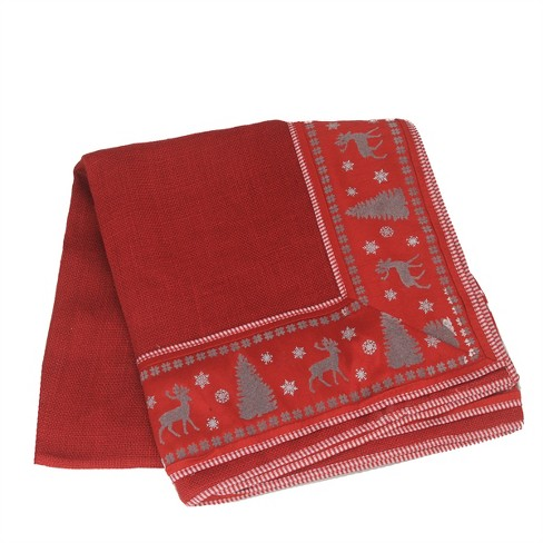Northlight Alpine Chic Red, Silver and Dark Gray Reindeer Christmas Tablecloth 54in x 54in - image 1 of 1