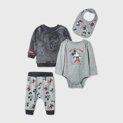 Baby Boys' 4pk Mickey Mouse Woobie Fleece Long Sleeve Top and Bottom Set - Gray 6-9M