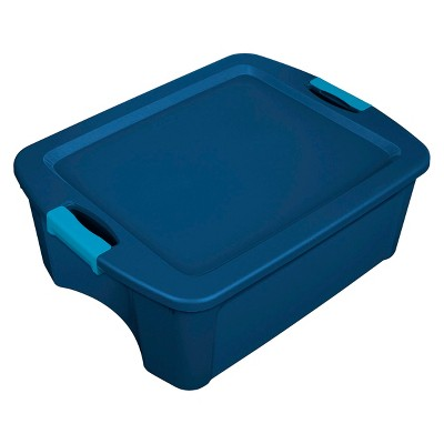 Sterilite 12 Gal Latch & Carry Tote Blue with Blue Latches