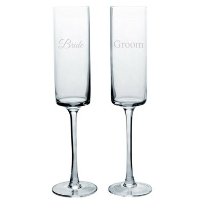 2ct Bride & Groom Wedding Contemporary Champagne Flutes