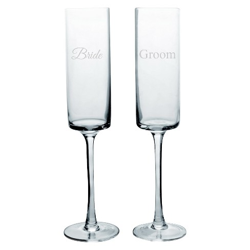 2ct Bride & Groom Wedding Contemporary Champagne Flutes - image 1 of 1