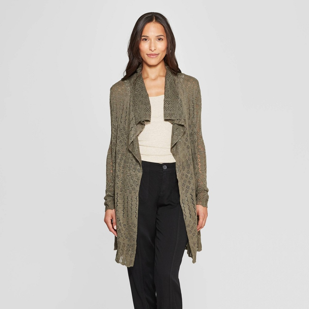Women's Long Sleeve Open-Front Pointelle Cardigan - Knox Rose Olive (Green) Xxl