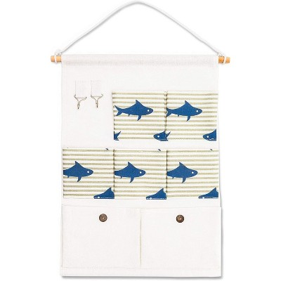 "Over the Door Closet Wall Hanging Organizer, Wall Mounted Storage Bag Case 7 Pockets Lined Cotton Fabric, Navy Blue Shark 4""x20"""