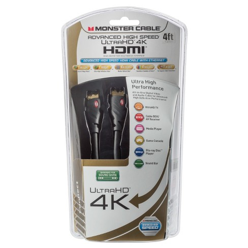 Monster 4k Ultra HDMI Cable 4' - Black