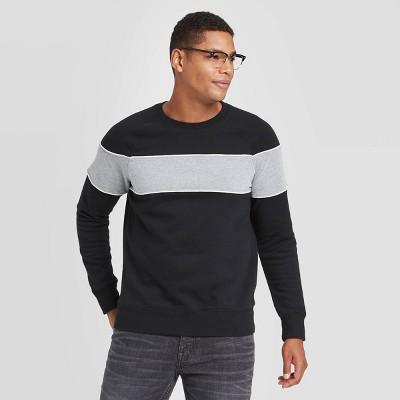 Men's Colorblock Regular Fit Crew Fleece - Goodfellow & Co™ Black