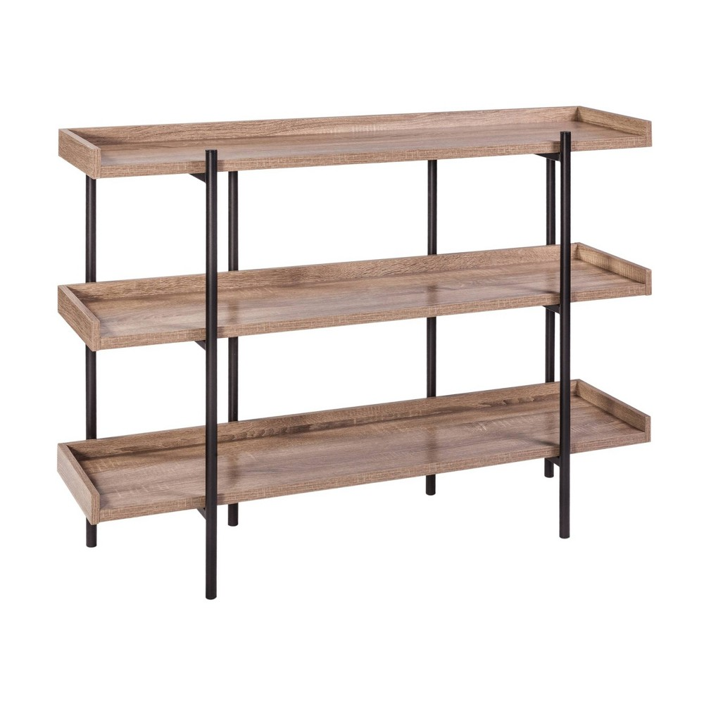 Image of 3 Shelf Modern Wood and Steel Display White - Onespace