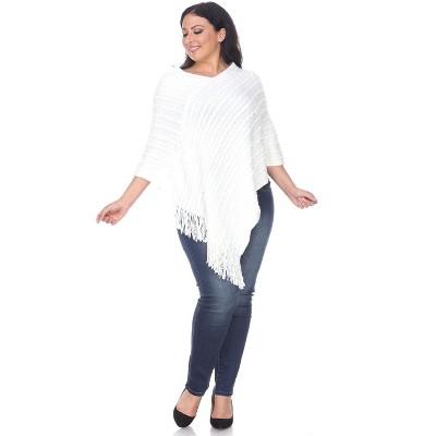 Women's Plus Size Melisandre Fringe Poncho - White Mark