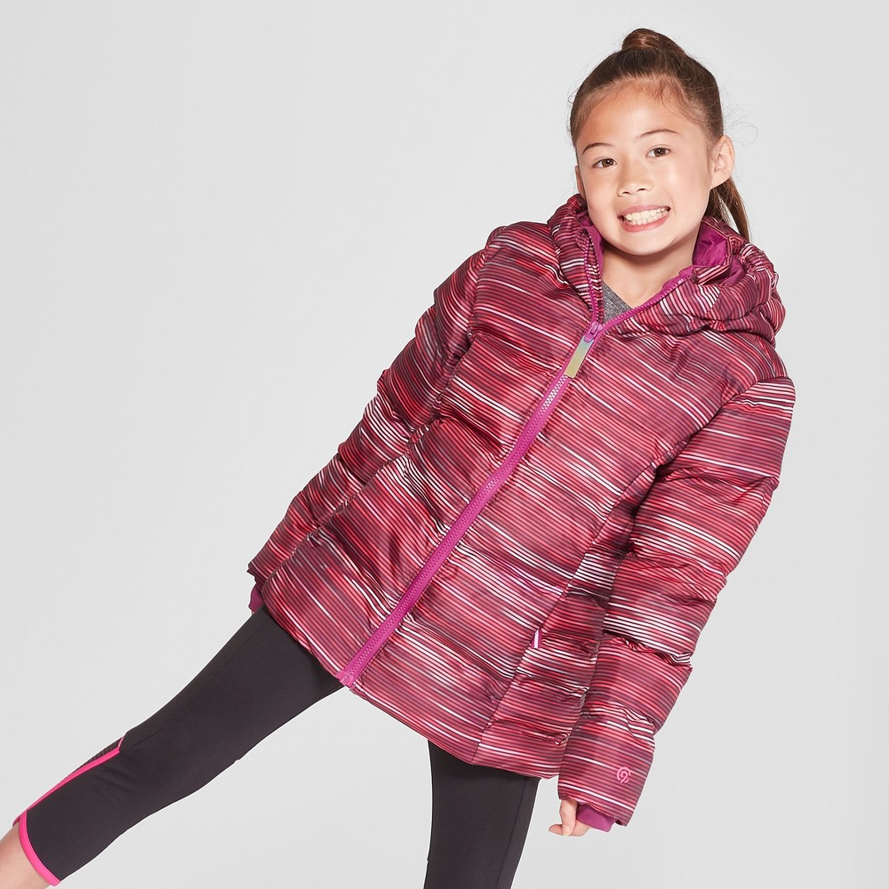 Girls' Solid Puffer Jacket - C9 Champion Pink L, Purple