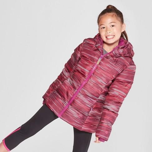 1f7f376c9627 Girls  Printed Puffer Jacket - C9 Champion® Pink   Target