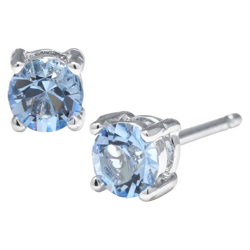 Silver Plated Brass Light Blue Stud Earrings with Crystals from Swarovski (4mm) - image 1 of 1