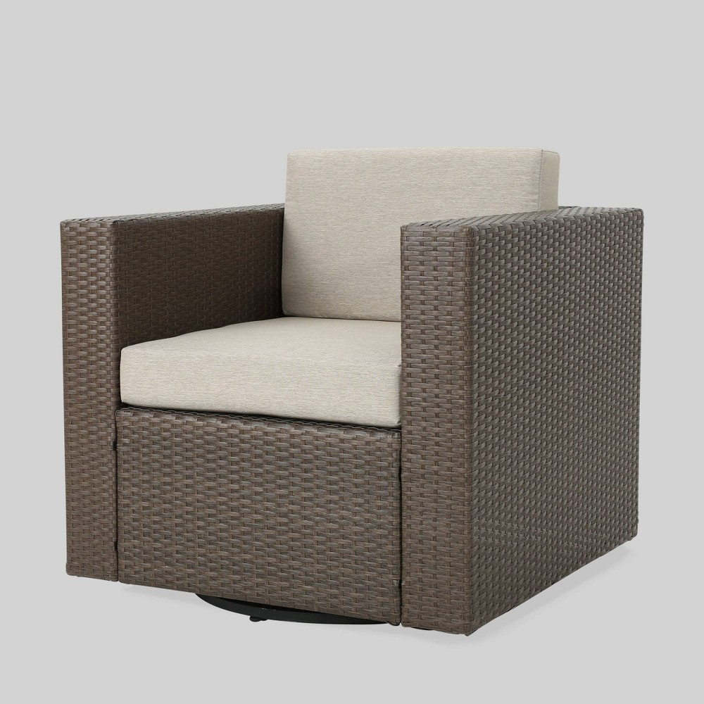 Puerta Wicker Outdoor Patio Swivel Club Chair - Brown/Gray - Christopher Knight Home