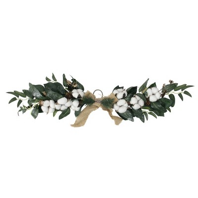 """Northlight 25"""" White Cotton and Foliage Christmas Twig Swag - Unlit"""