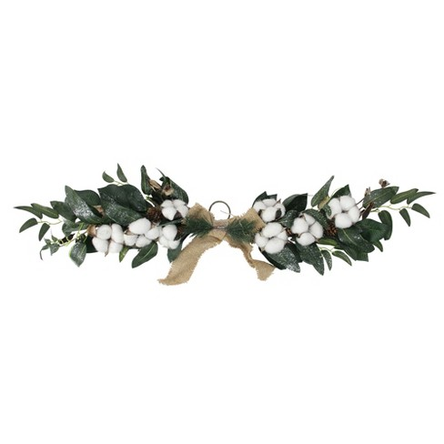 "Northlight 25"" White Cotton and Foliage Christmas Twig Swag - Unlit - image 1 of 3"