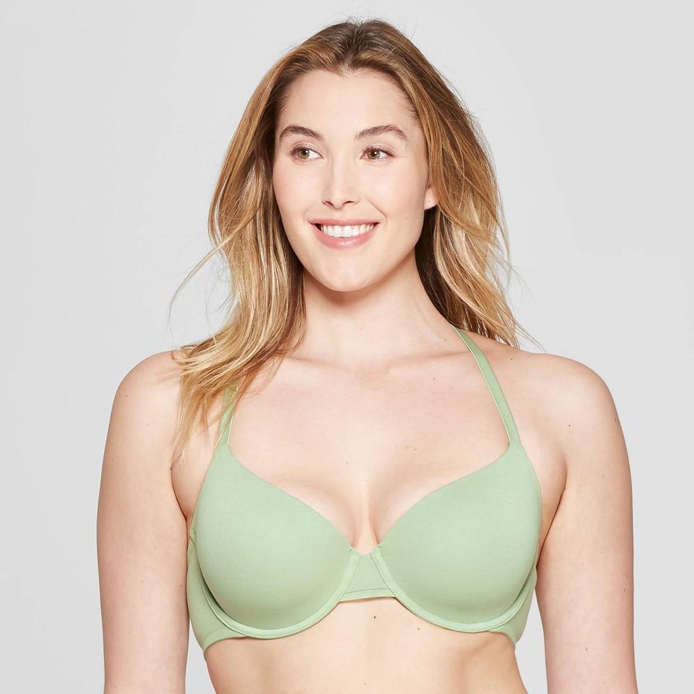 Women's Everyday Lightly Lined Cotton Demi T-Shirt Bra - Auden Kiwi Green 34B