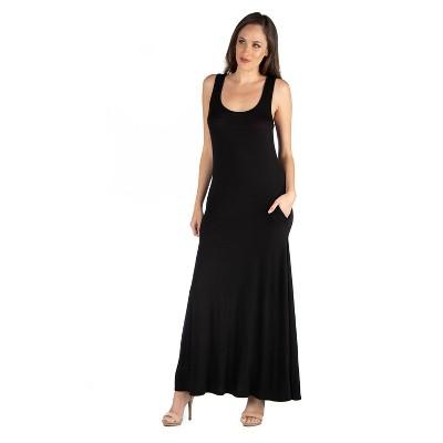 24seven Comfort Apparel Women's Scoop Neck Sleeveless Maxi Dress