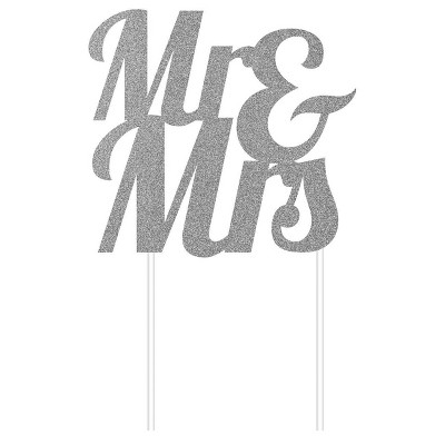 Mr & Mrs Glitter Cake Topper Party Decoration