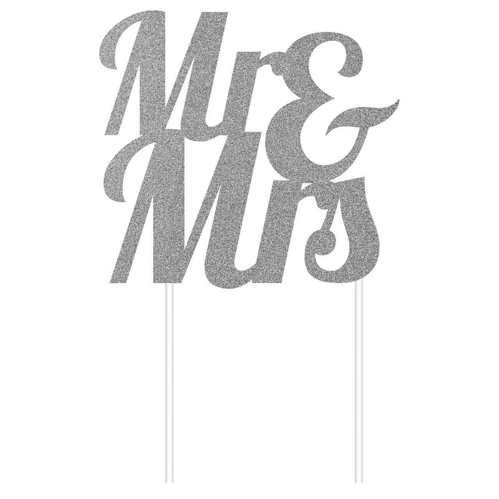 'Mr & Mrs' Glitter Cake Topper Party Decoration Gold, Silver