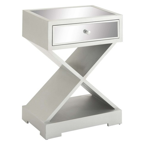 Wood and Glass Art Deco Accent Table Silver - Olivia & May - image 1 of 4