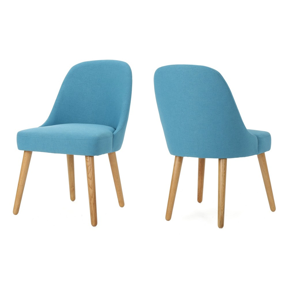 Set of 2 Trestin Mid Century Dining Chair Teal (Blue) - Christopher Knight Home
