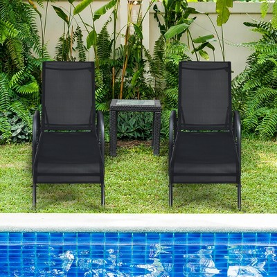 Costway 2PCS Outdoor Patio Lounge Chair Chaise Fabric Adjustable Reclining Armrest Black