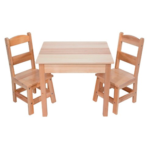 Melissa & Doug® Solid Wood Table and 2 Chairs Set - Light Finish Furniture for Playroom - image 1 of 3