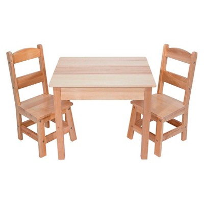 Melissa U0026 Doug® Solid Wood Table And 2 Chairs Set   Light Finish Furniture  For Playroom