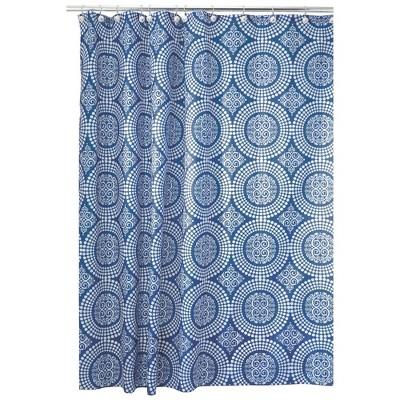 Medallion Polyester Shower Curtain Blue - iDESIGN