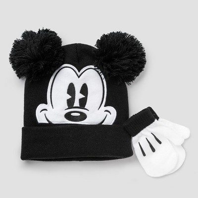6054deb506be8 Toddler Boys Disney Mickey Mouse Hat and Mitten Set - Black/White One Size