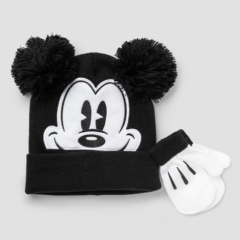 c21ac78203f Toddler Boys  Disney Mickey Mouse Hat And Mitten Set - Black White One Size    Target
