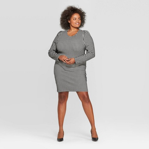 Women's Plus Size Plaid Long Sleeve Round Neck Mini Dress - Who What Wear™ Black/White - image 1 of 3