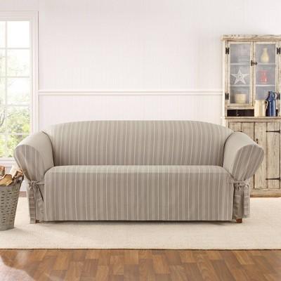 Grain Sack Sofa Slipcover White - Sure Fit