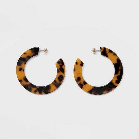 Women's Hoop Earrings - A New Day™ Tortoise - image 1 of 3