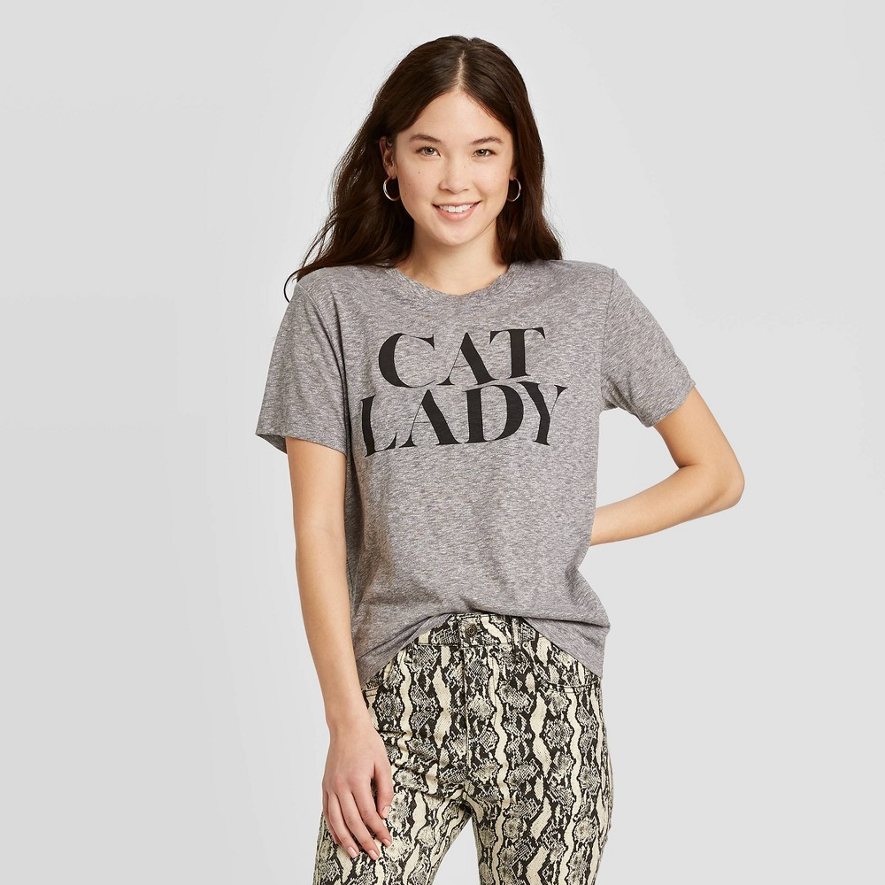 Image of Women's Cat Lady Short Sleeve Graphic T-Shirt - Zoe+Liv (Juniors') - Heather Gray L, Women's, Size: Large