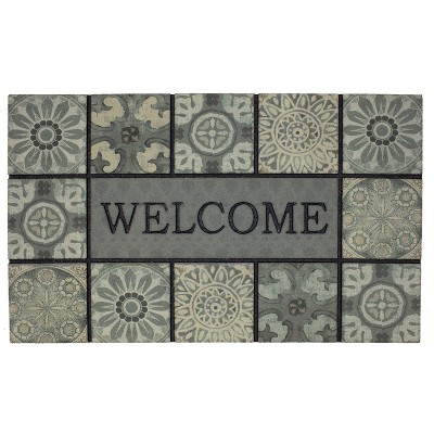 """1'6""""x2'6"""" Doorscapes Mat Welcome Ocean Tiles Slate - Mohawk"""