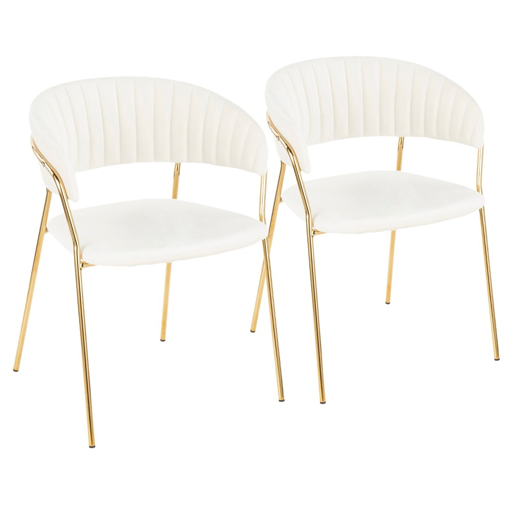 Set of 2 Tania Contemporary Glam Chairs White/Gold - LumiSource