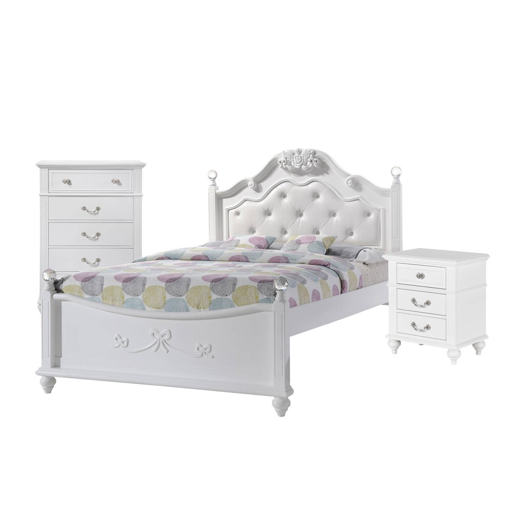 Image of 3pc Full Annie Platform Bedroom Set with Trundle White - Picket House Furnishings
