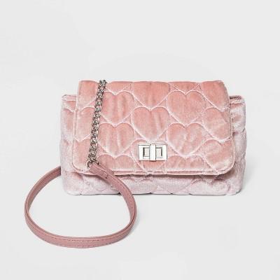 Girls' Velvet Heart Quilted Crossbody Bag - Cat & Jack™ Pink