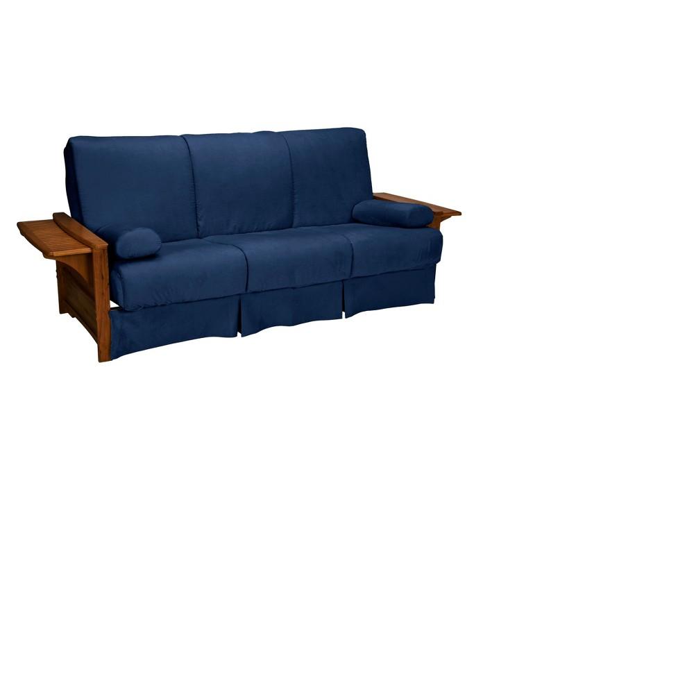 Brooklyn Perfect Futon Sofa Sleeper - Walnut Oak Finish - Epic Furnishings, Dark Blue