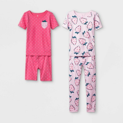 Girls' 4pc Strawberry Pajama Set - Just One You® made by carter's Pink