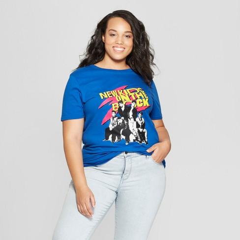 172a2489e3f Women s Plus Size Short Sleeve New Kids on the Block T-Shirt - (Juniors )  Blue