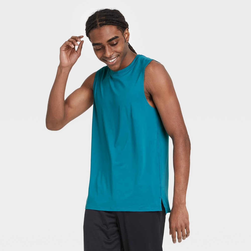 Men 39 S Big 38 Tall Sleeveless Performance T Shirt All In Motion 8482 Turquoise Xxxl