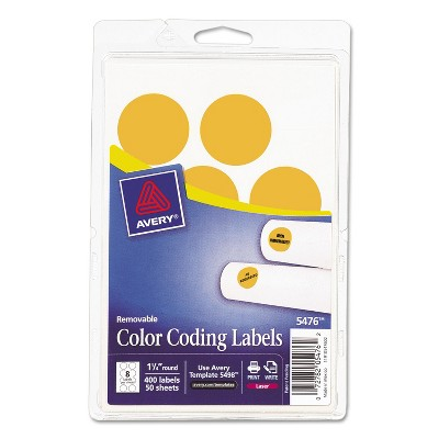 """Avery Printable Removable Color-Coding Labels 1 1/4"""" dia Neon Orange 400/Pack 05476"""