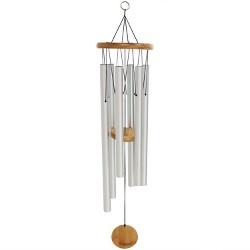 "33""H Aluminum Wind Chime with Bamboo Clapper - Sunnydaze Decor"