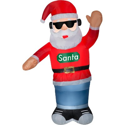 Gemmy Animated Christmas Airblown Inflatable Swaying Santa w/Headphones, 6 ft Tall, Multicolored