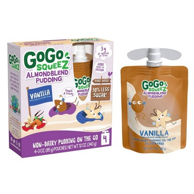 GoGo SqueeZ Almond Blend Vanilla Pudding - 3oz/4ct